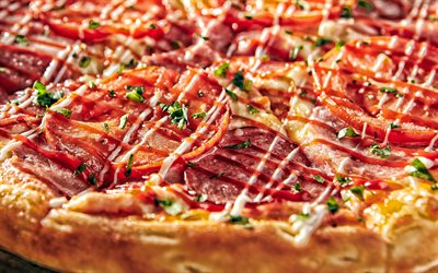 pizza with sausage, fast food, pizza, meat pizza, delicious food