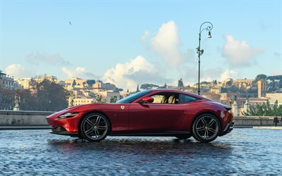 Ferrari Roma, 2020, exterior, side view, red sports coupe, new red Roma, supercar, Italian sports cars, Ferrari