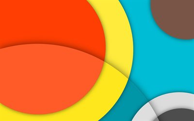 geometric shapes, colorful circles, android, lines, lollipop, material design, geometry, creative, strips, colorful backgrounds, abstract art