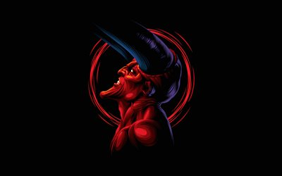 red devil, 4k, minimal, monster, black background, devil, demon