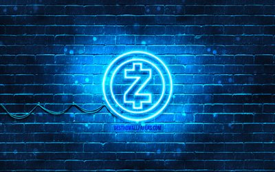Zcash青色のロゴ, 4k, 青brickwall, Zcashロゴ, cryptocurrency, Zcashネオンのロゴ, cryptocurrency看板, Zcash