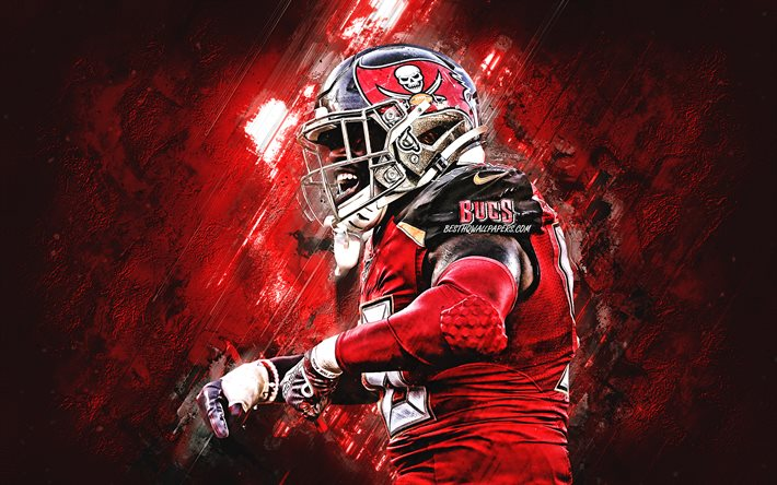 Download Wallpapers Shaquil Barrett Nfl Tampa Bay Buccaneers American Football Red Stone Background Football Creative Art National Football League For Desktop Free Pictures For Desktop Free
