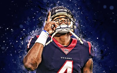 4k, Deshaun Watson, néon bleu, les rayons de la Ligue Nationale de Football, Houston Texans, NFL, Derrick Deshaun Watson, close-up, Deshaun Watson Texans de Houston, Deshaun Watson 4K