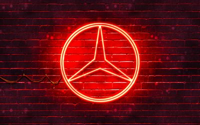 mercedes-benz rotes logo, 4k, rote backsteinmauer, mercedes-benz logo, automarken, mercedes logo, mercedes-benz neon logo, mercedes-benz