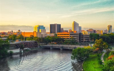 Wichita, evening, sunset, Arkansas River, Wichita cityscape, Wichita panorama, Wichita skyline, Kansas, USA