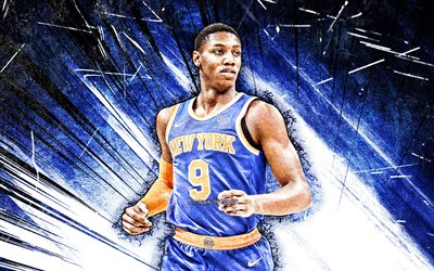 4k, RJ Barrett, grunge art, New York Knicks, NBA, basket-ball, Rowan Alexander Barrett Jr, Etats-Unis, RJ Barrett New York Knicks, blue abstract rays, RJ Barrett 4K