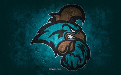 Coastal Carolina Chanticleers, équipe de football américaine, fond turquoise, Coastal Carolina Chanticleers logo, grunge art, NCAA, football américain, Etats-Unis, Coastal Carolina Chanticleers emblème