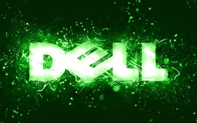 Dell green logo, 4k, green neon lights, creative, green abstract background, Dell logo, brands, Dell