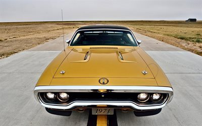 Plymouth Road Runner, 1971 voitures, Hémi 440, musculaires de voitures, supercars, Plymouth