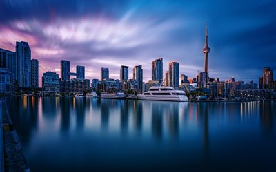 CN Tower, Toronto, Inner Harbour, Canada, Sunset, bay, yachts