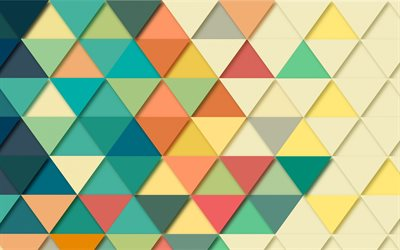 multicolored abstraction, triangles, geometric background, retro, multicolored triangles