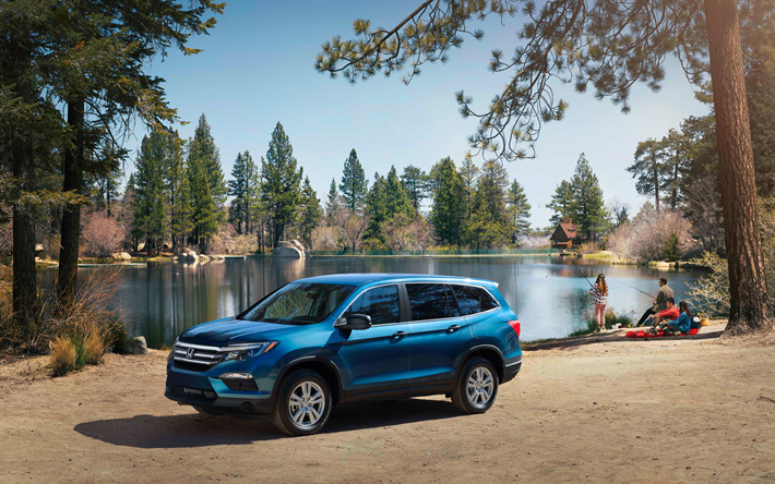 4k, Honda Pilot, Pesca, 2019 Carros, SUVs, Offroad, 2019 Honda
