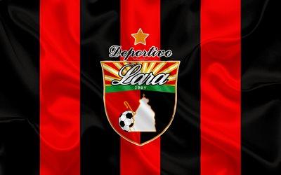 Descargar fondos de pantalla El Deportivo Lara FC, 4k, Venezuela club de  fútbol, el logotipo de seda de la textura, negro y rojo de la bandera  Venezolana, Primera División, fútbol, Kabudare, Venezuela