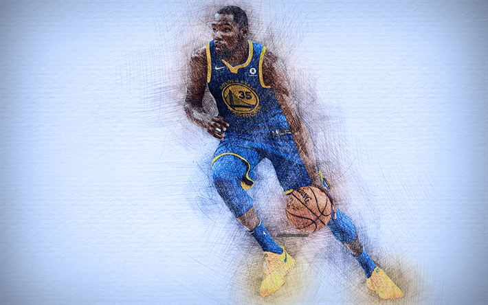 Kevin Durant, 4k, artwork, basketball stars, Golden State Warriors, NBA,