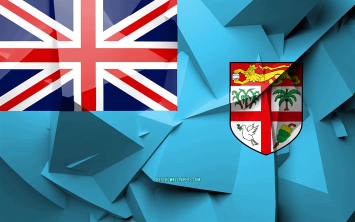 Download Wallpapers 4k Flag Of Fiji Geometric Art