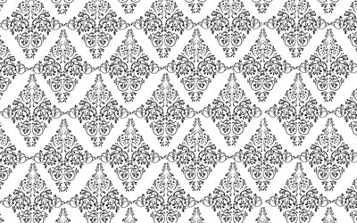 floral seamless texture, white background, vintage ornaments texture, black ornaments, seamless floral pattern