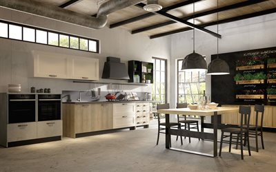 stylish kitchen interior, loft style, art concrete in the kitchen, modern interior design, dining room, country house