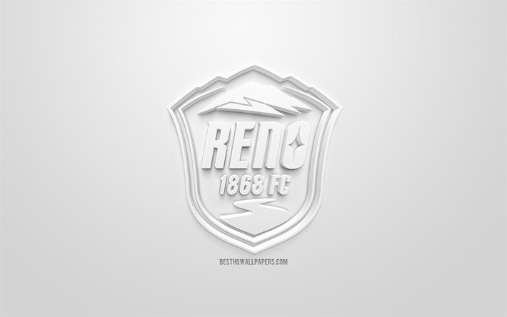 Download wallpapers Reno 1868 FC, creative 3D logo, USL