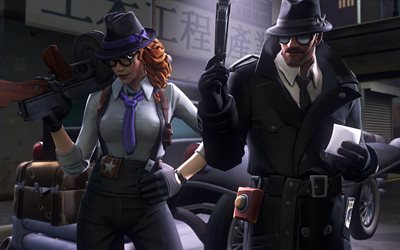 Gumshoe, Noir, darkness, Fortnite characters, 2019 games, Fortnite Battle Royale, Gumshoe and Noir, Fortnite