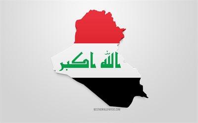 تحميل خلفيات 3d العلم من العراق صورة ظلية خريطة العراق الفن 3d