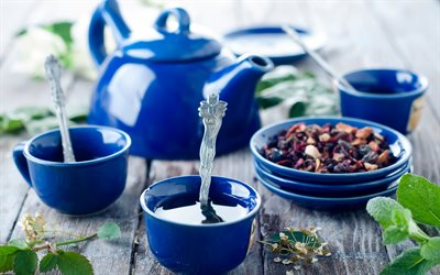 cups of tea, blue cups, tea concepts, time for tea
