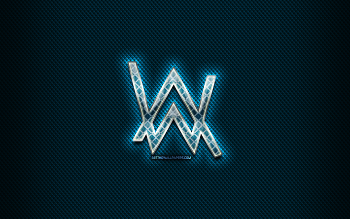 Alan Walker glass logo, blue background, artwork, Alan Walker, brands, Alan Walker rhombic logo, creative, Alan Walker logo