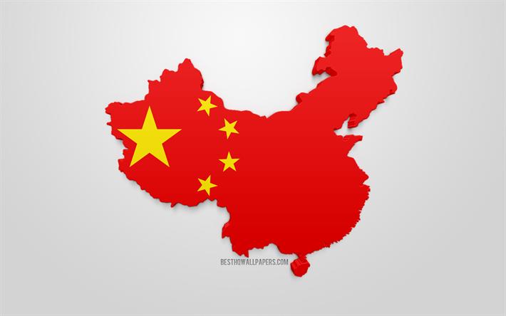 Lataa Kuva 3d Lippu Kiina Kartta Siluetti Kiina 3d Art Kiinan