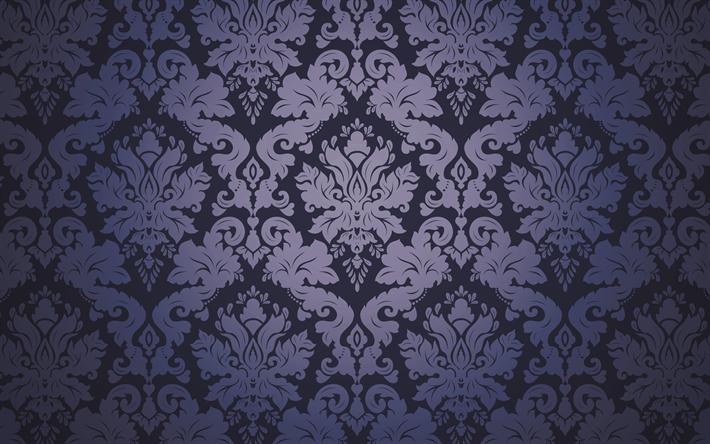 Scarica Sfondi Blu Damascato Floreale Texture Vintage Damasco