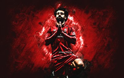 Mohamed Salah, Liverpool FC, Egyptian football player, striker, Egyptian football star, red stone background, football, creative art, Premier League, England