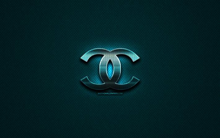 Scarica Sfondi Chanel Logo Glitter Creativo Blu Metallo Sfondo