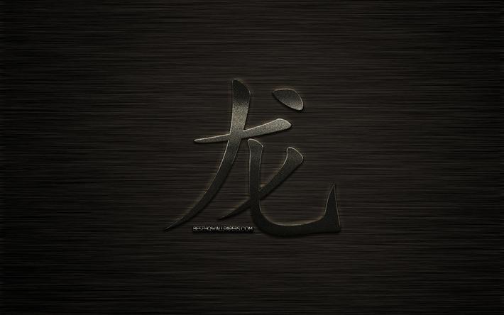 Download wallpapers Dragon hieroglyph, chinese zodiac sign, metal