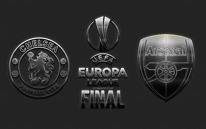 Download Wallpapers Chelsea Fc Vs Arsenal Fc 2019 Uefa Europa League Final Metal Logos Steel Emblems Promo Football Match Creative Art Football For Desktop Free Pictures For Desktop Free