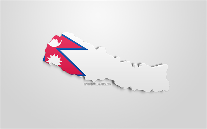 Download wallpapers 3d flag of Nepal, map silhouette of ...