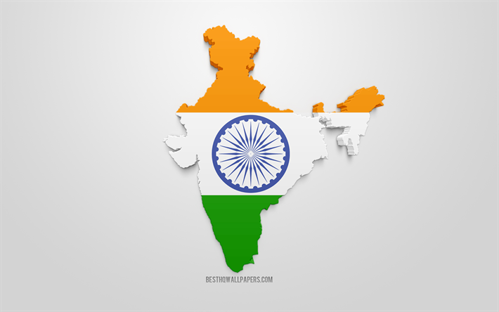 Lataa Kuva 3d Flag Intia Kartta Siluetti Intia 3d Art Intian