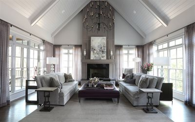 luxurious living room interior, classic style, living room in brown color, country house, modern interior design