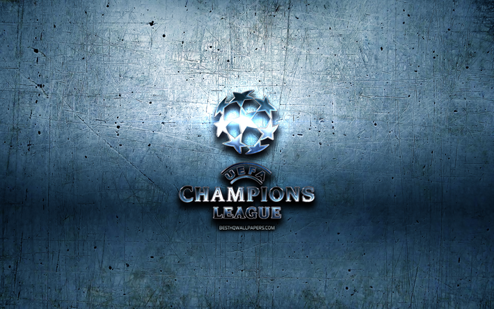 Download wallpapers UEFA Champions League metal logo, blue