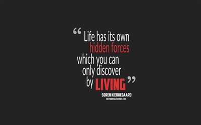 Life has its own hidden forces which you can only discover by living, Soren Kierkegaard quotes, 4k, quotes about life, motivation, gray background, popular quotes