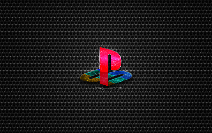 PS4 logo, Playstation 4, steel polished logo, PS4 emblem, brands, metal mesh texture, black metal background, PS4, Playstation