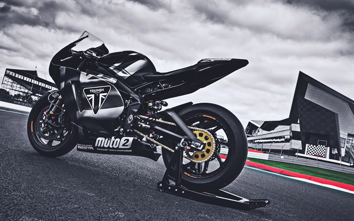 Triumph Daytona 765, back view, 2019 bikes, superbikes, black motorcycles, Triumph