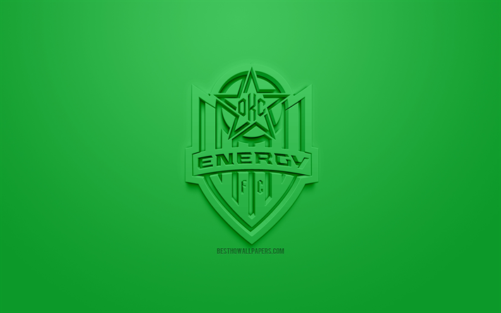 Download Wallpapers Okc Energy Fc Creative 3d Logo Green