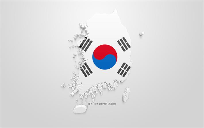 Lataa Kuva 3d Lipun Etela Korea Kartta Siluetti Etela Korea 3d