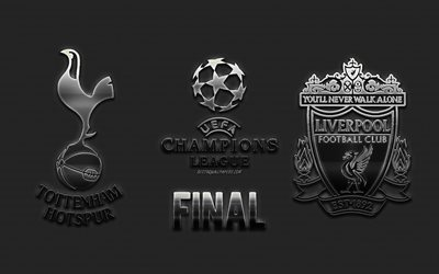 Tottenham Hotspur FC vs Liverpool FC, 2019 UEFA Champions League Final, metal logos, steel emblems, promo, football match, Wanda Metropolitano, June 1, 2019, UEFA Champions League