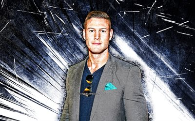 4k, Tom Hopper, grunge art, english actor, Thomas Edward Hopper, blue abstract rays, Tom Hopper 4K
