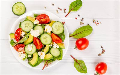 salad, healthy meal, avocado cucumber tomato salad, diet concepts, salads, plate with salad