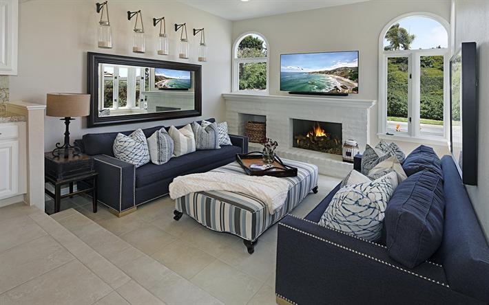 Modernen Wohnzimmer Interieur, Blaue Sofas, Klassischen Stil, Weiße Wände, Wohnzimmer  Design