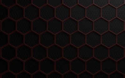 hexagons, grid, metal texture, grid pattern, gray background, metal background