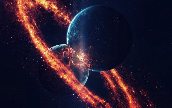 Clash Of Planets Explosion Apocalypse Galaxy Universe
