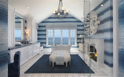 luxurious bathroom interior, classic style, blue bathroom, luxurious bathroom furniture, modern stylish interior, fireplace in the bathroom