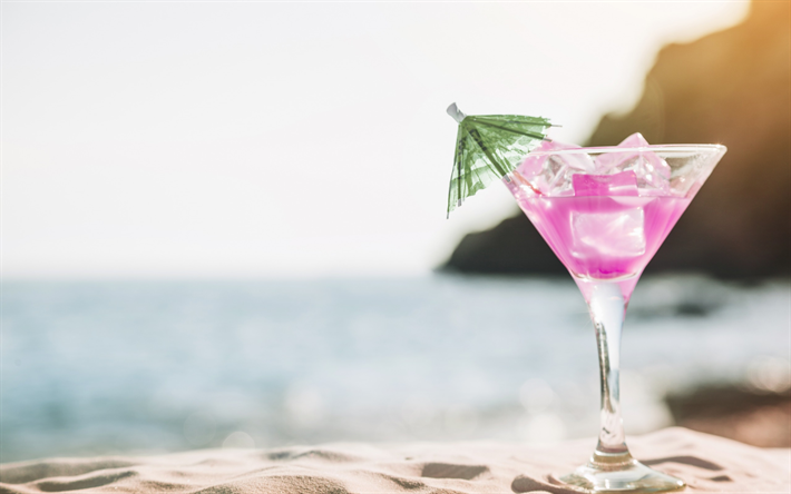 summer pink cocktail, beach, summer drinks, sand, relax concepts