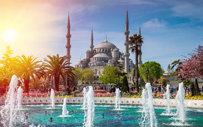 Sultan Ahmet Mosque 4k Turkish Landmarks Fountains Blue Istanbul